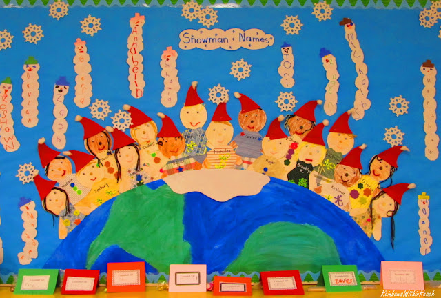 photo of: Winter Theme Bulletin Board in Kindergarten (from Bulletin Board RoundUP via RainbowsWithinReach) 