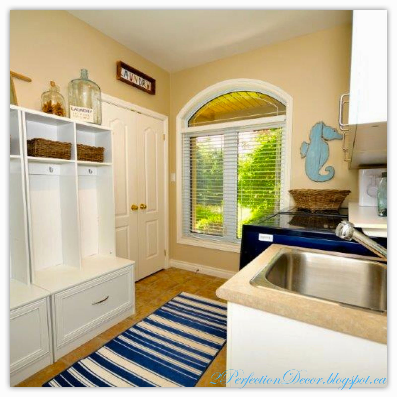 2Perfection Decor: Nautical Inspired Blue and white Laundry ...