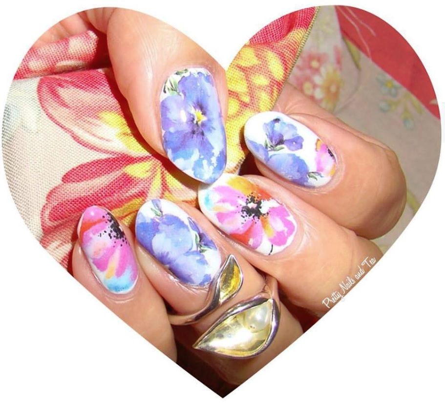 Pretty Nails and Tea: Easy Painted Flowers Nail Art | Water Decals ...