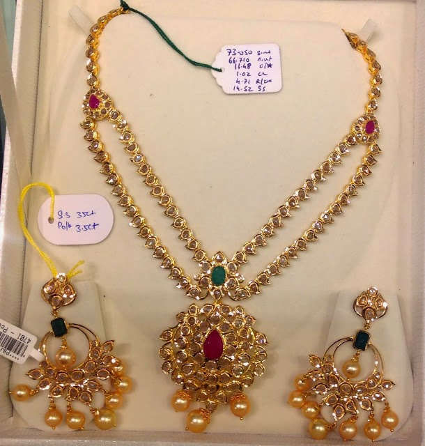 Two Step Uncut Diamond Necklace With Chandbalis