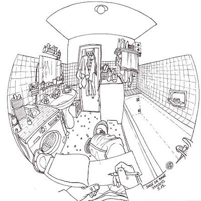 urban sketchers france chasse au croquis salle de bain. Black Bedroom Furniture Sets. Home Design Ideas
