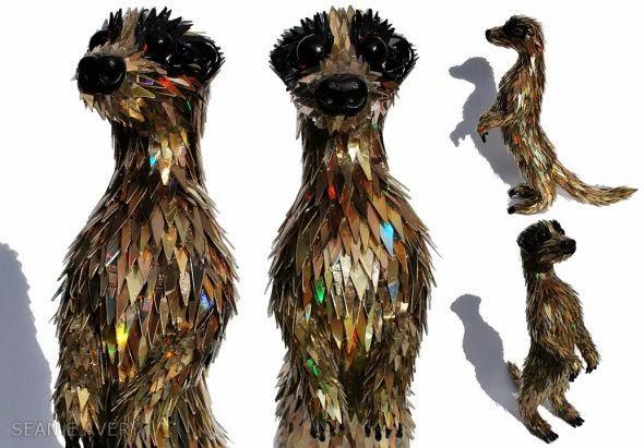 Sean Edward Avery esculturas de animais usando cds velhos reciclados
