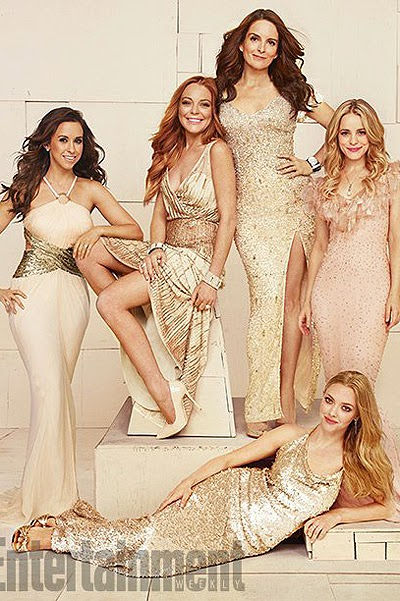 Lacey Chabert, Lindsay Lohan, Tina Fey, Rachel and Amanda Seyfried MakEdams for Entertainment Weekly