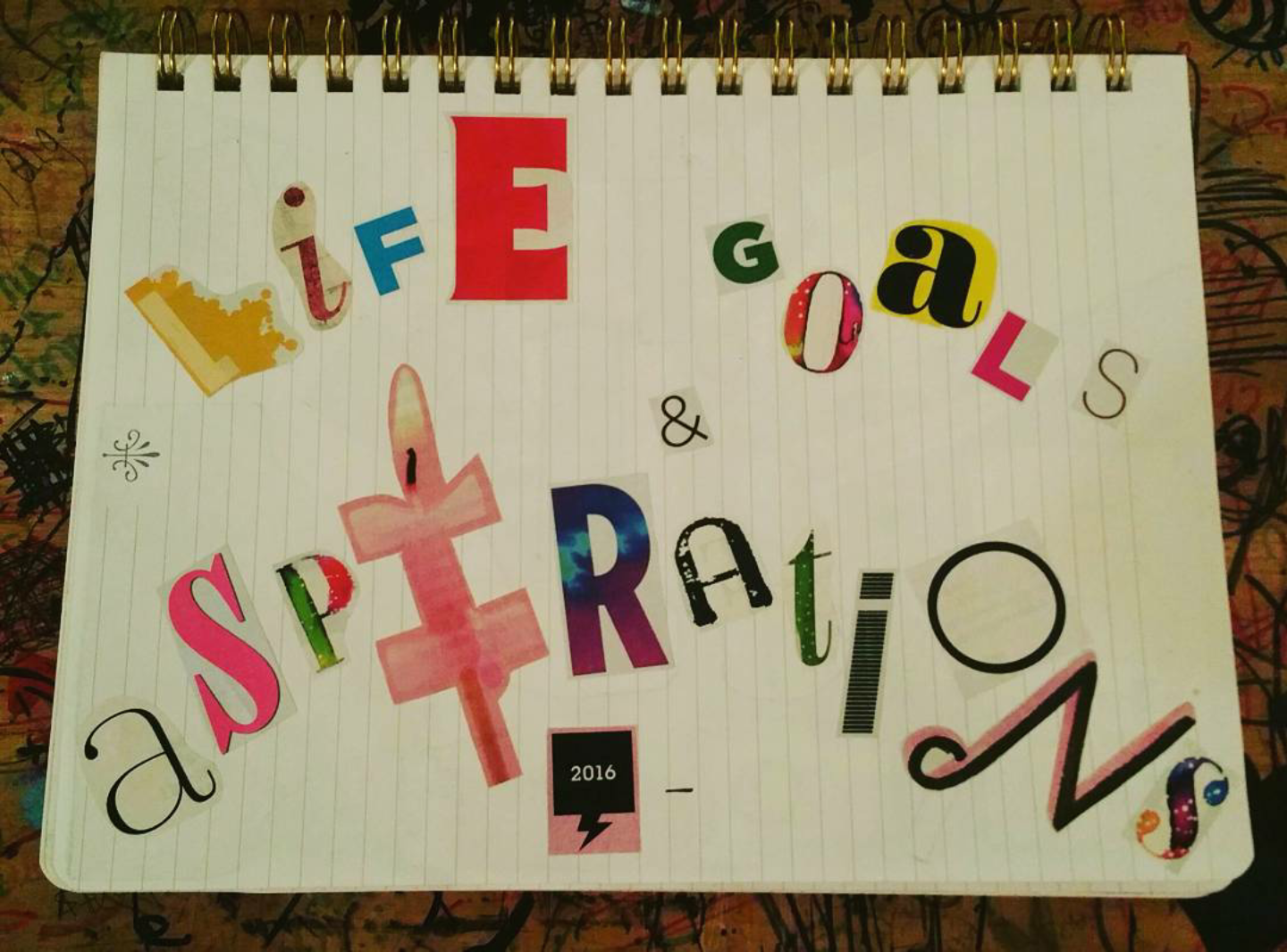 simpleigh me diy life goals aspirations journal i of course called mine life goals aspirations i also added a cut out of the year i started the journal and a dash for when i complete it