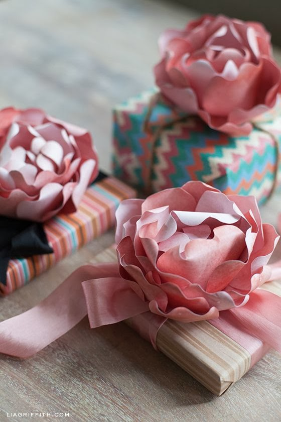 DIY paper peonies for gift wrap & packaging