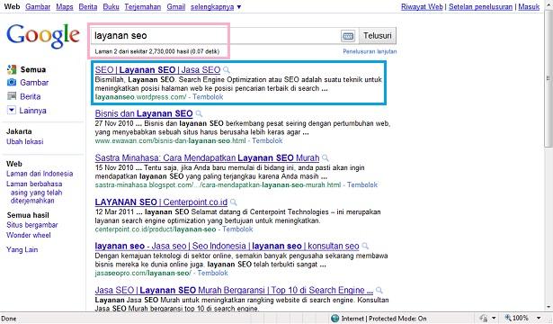SERP SEO Dasar Google untuk Layanan SEO