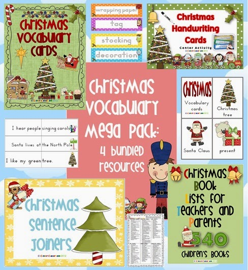 Christmas Vocabulary Mega Pack Bundle Center Activities   The 100 page bundle