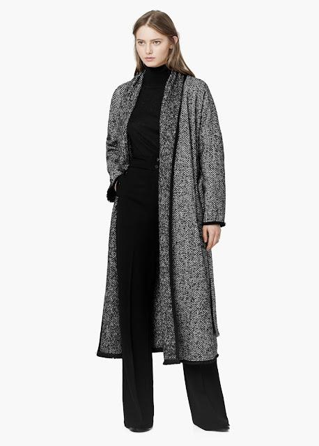 mango herringbone coat, mango maxi coat, long herringbone coat, maxi herringbone coat,