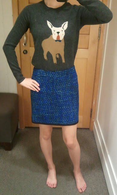 J. Crew Postage Stamp Mini in Indigo Tweed and Frenchie Sweater