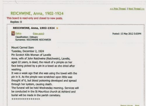 Anna Krapf Reichwein Death Notice - from Ancestry.com - My Family History Journey - Debbie Lowrance
