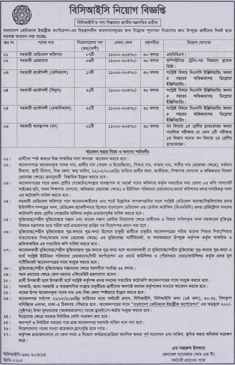 Bangladesh Chemical Industries Corporation ( BCIC ) Recruitment Notification _Job circular