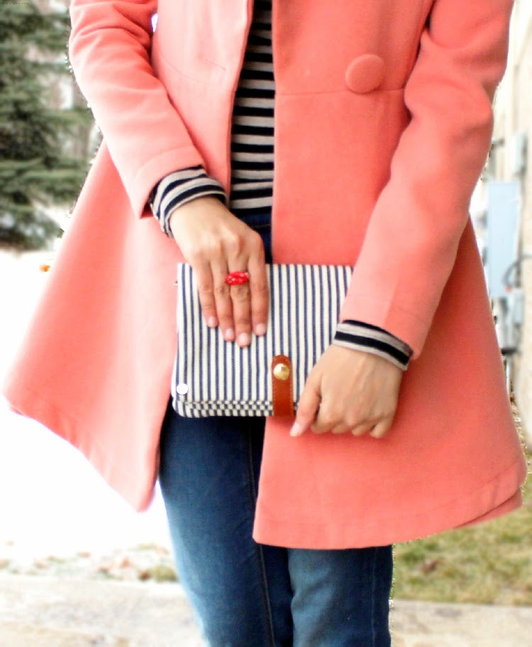 Outfit of the Day, OOTD, What I Wore, Pink Coat, Striped Tee, Skinny Jeans, Red Pumps, Striped Bag, Outerwear, H&M, Target, OASAP, Coat, Street Style, Fashion, Fashion Blogger, Spring Fashion, Indian Fashion Blogger, Michigan, Detroit