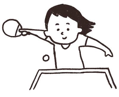 卓球選手のイラスト モノクロ線画