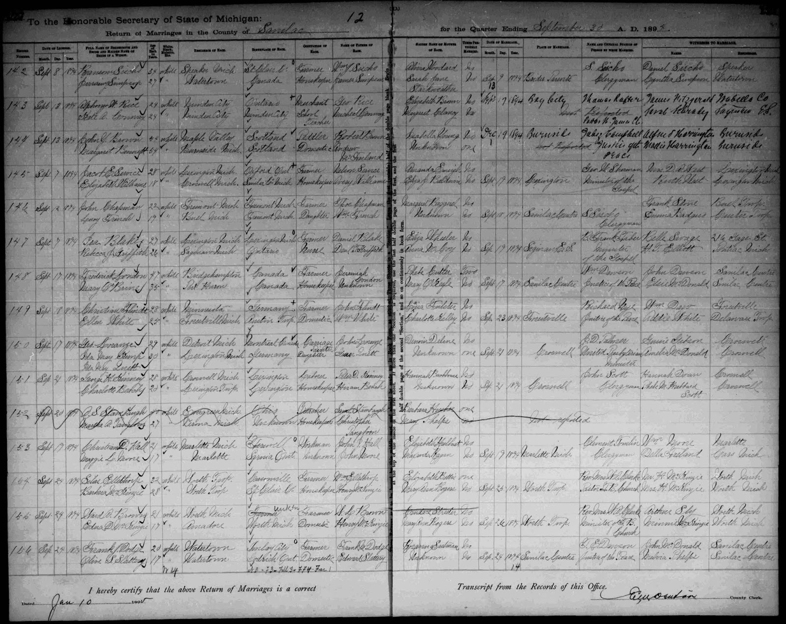 Climbing My Family Tree: Marriage record: Margaret McFarlane Bennett & John Y Brown, 19 December 1894 (3rd entry)