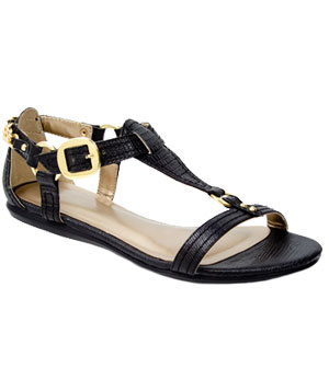 df fred flare chain 300 - Black flat sandals