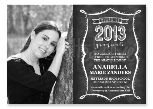 Class of 2013 Chalkboard Typography Graduation Invitations