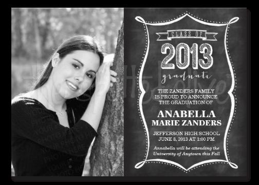 Class of 2013 Chalkboard Typography Graduation Invitations
