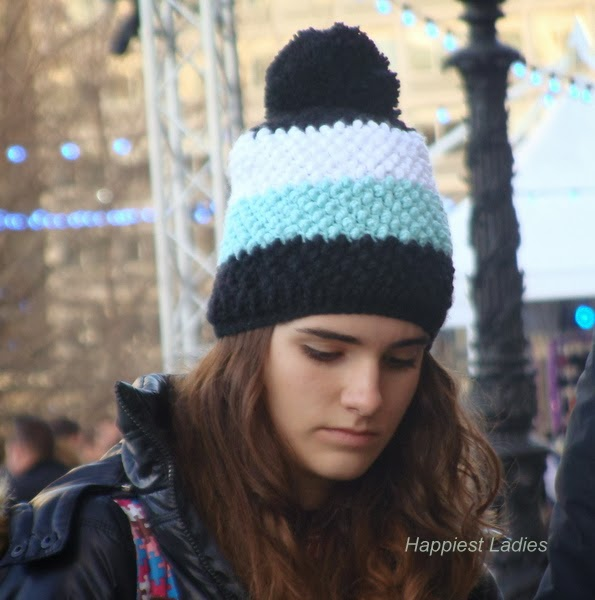 Winter knit bobble cap