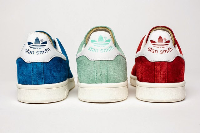 Stan Smiths, Adidas, Blue, Red, Green, Trainer, Sneakers, Suede