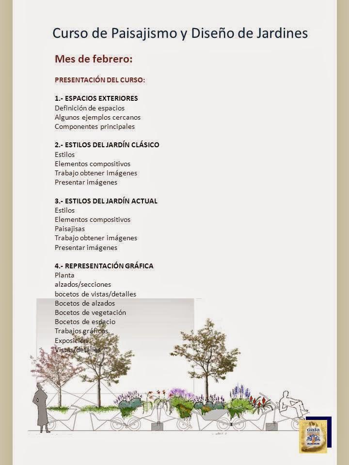 Programa y calendario del curso de paisajismo y dise o de for Programa diseno de jardines