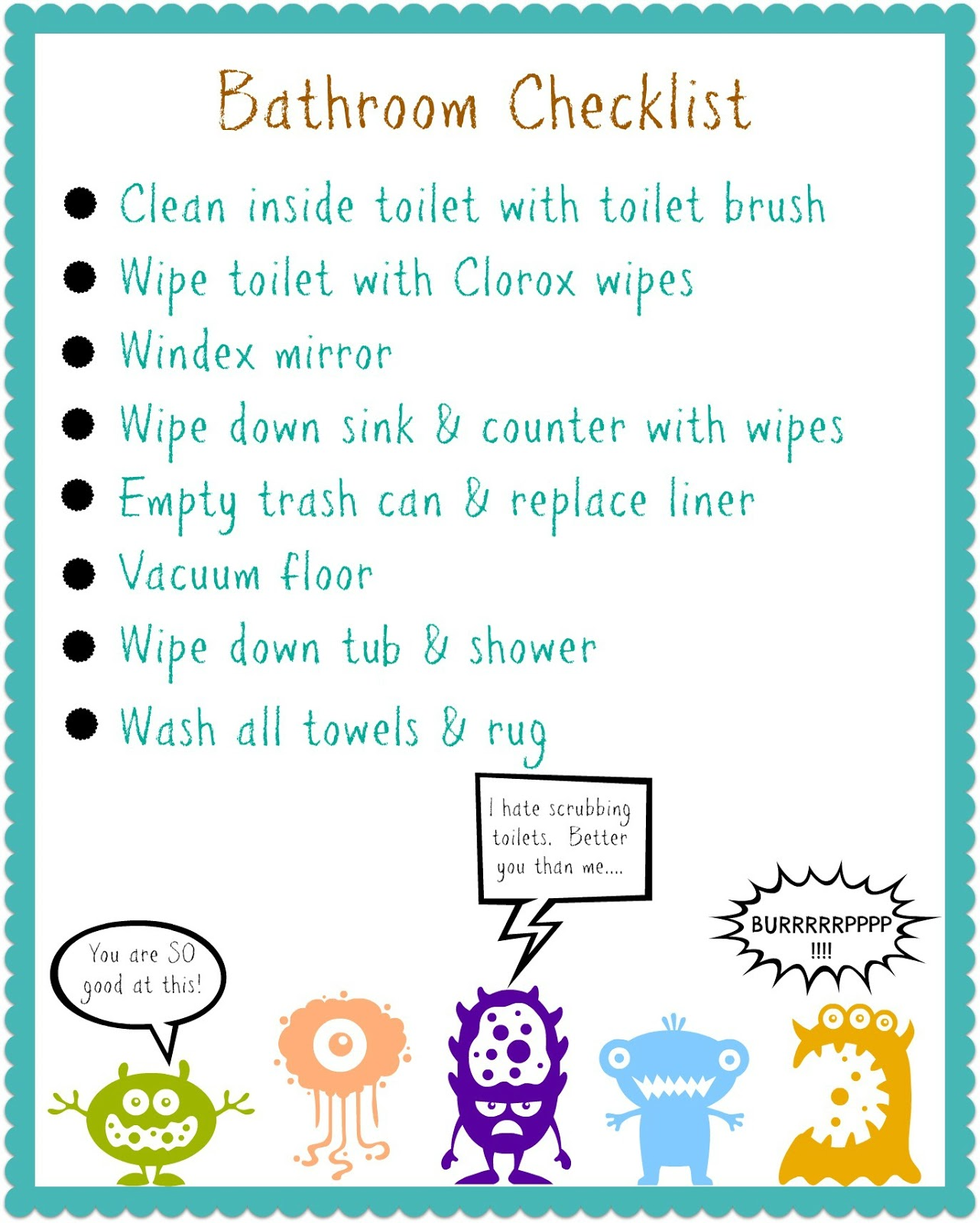 Kids can clean the bathrooms - Bathroom Cleaning