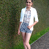 Meu look com blazer e short estampado