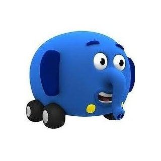 Elevan el elefante camioneta azul que tiene 4 ruedas