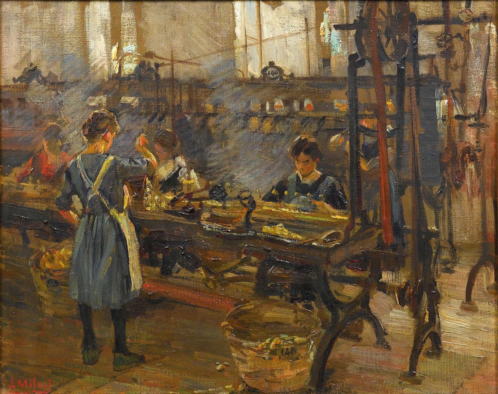 Alessandro Milesi The  Weaving  Factory