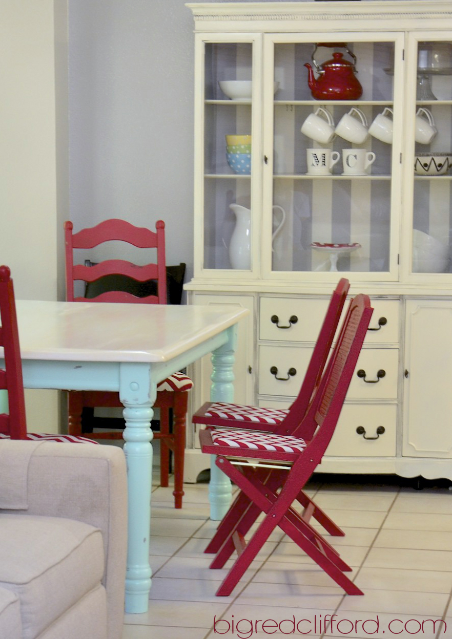 Retro kitchen reveal how chalk paint saved me color for Painted kitchen chairs