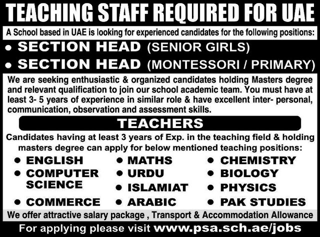 Teachers Jobs in UAE for different subjects online Apply