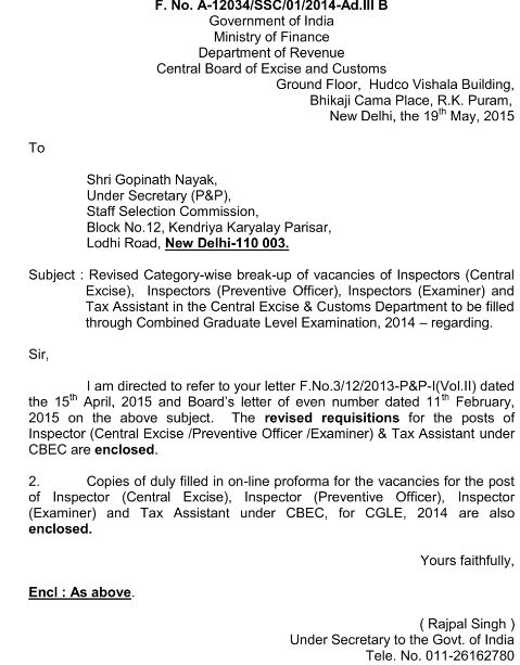 SSC CGL 2014 Latest Vacancy List