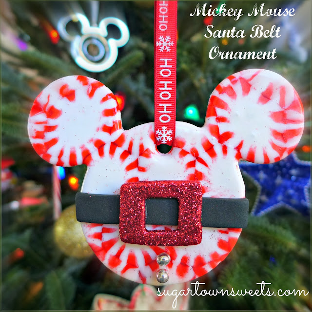 Melted Peppermint Candy Ornaments: Sugartown Sweets: Mickey Mouse Santa Belt Ornaments