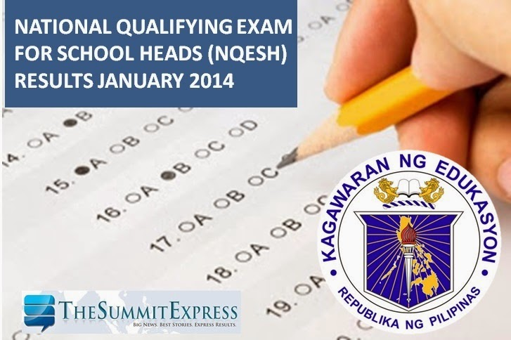 NQESH Results January 2014 list of passers, top 10