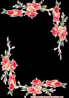 Folio con esquinas de rosas