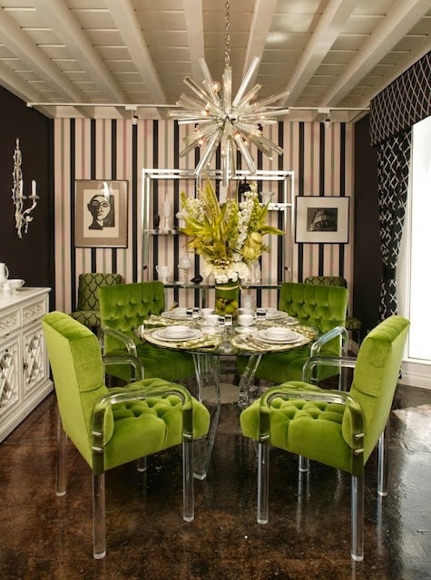 BOLD modern dining room lime green and acrylic chairs sputnik