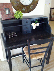 Black Shabby desk and chair -sold