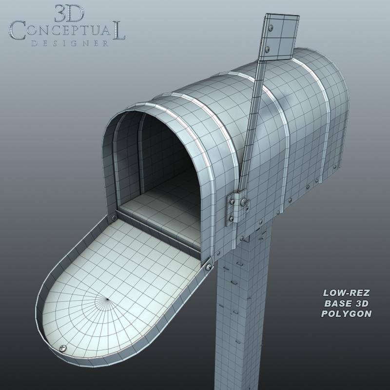 3DconceptualdesignerBlog: 3D Model Sales Part VI: Old Mailbox on a Post