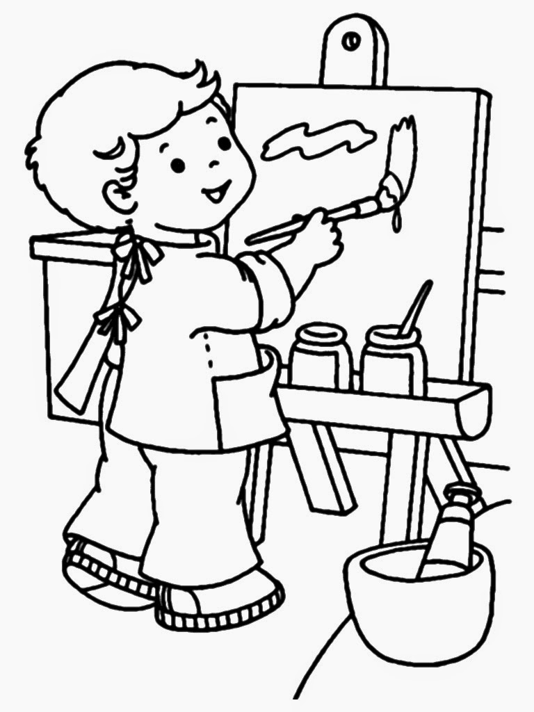 painter kids coloring sheet