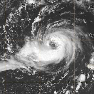 vista satelita de un huracán