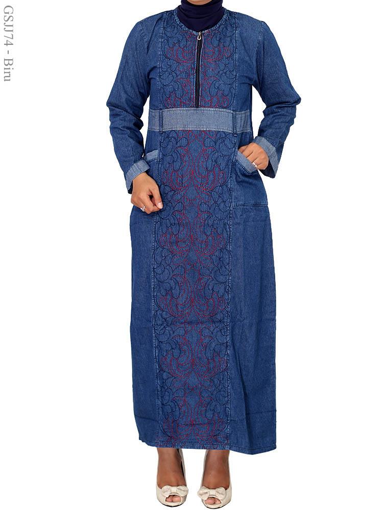 Gamis Jeans Jumbo Gsjj74 Busana Muslim Murah Terbaru