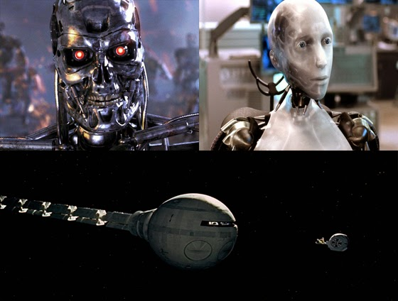 Science fiction often predicts the future: Three sci-fi flicks that predicted an overthrow of humankind by computers and robots: Terminator (top left), I Robot (top right) and 2001: A Space Odyssey. (Screen captures from films)