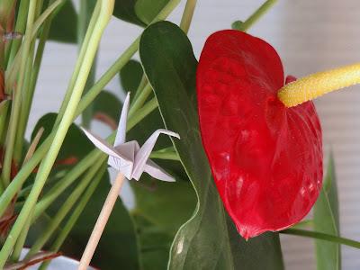 origami e tsurú para vaso