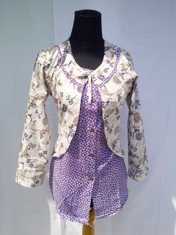 baju blazer batik kerja wanita kombinasi bahan katun