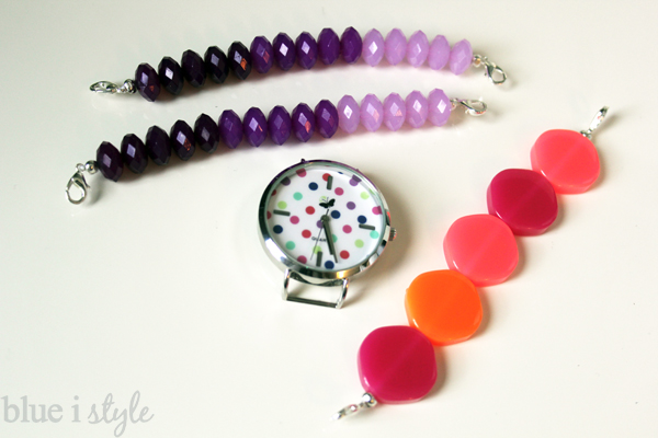 DIY Pink and Purple Interchangeable watch bands with polka dotted watch