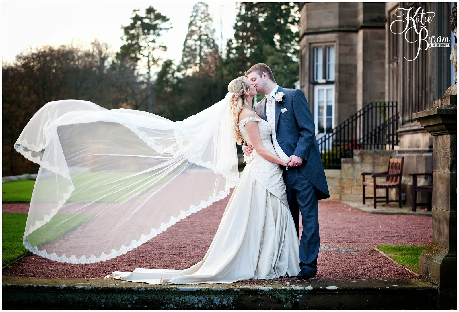 cathedral length veil, wedding veil, matfen hall wedding, matfen wedding, northumberland wedding, katie byram photography, vintage wedding, quirky wedding photography, north east wedding, north east wedding venue, great hall matfen, event diva, by wendy, just perfect,