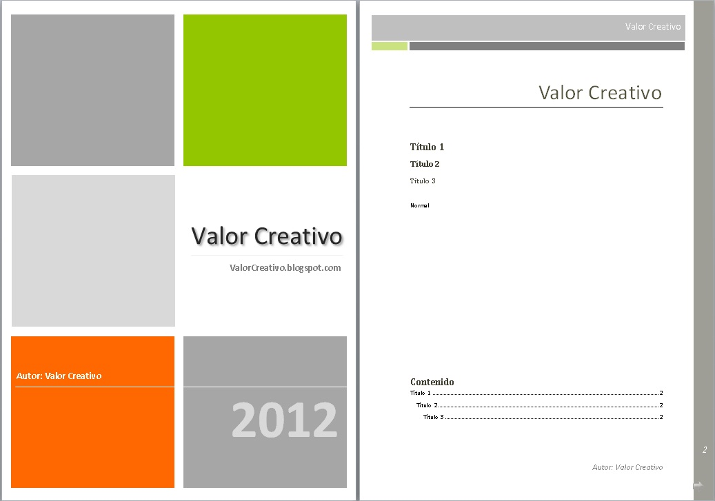 valor creativo  plantilla word 2003  2007 y 2010