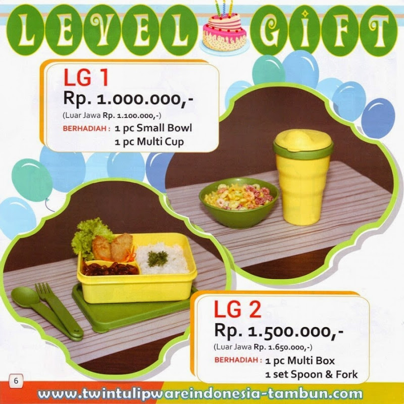 Level Gift - LG Tulipware Tupperware Mei - Juni 2014