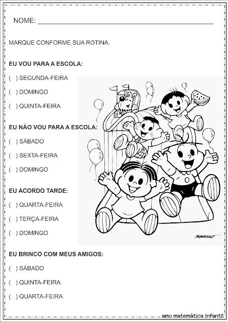 Atividades Dias da Semana Educação Infantil