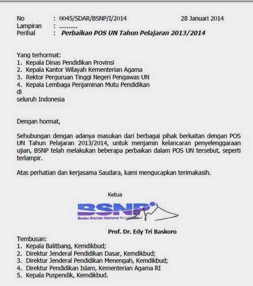 Surat Edaran BNSP Tentang Perubahan POS UN 2014