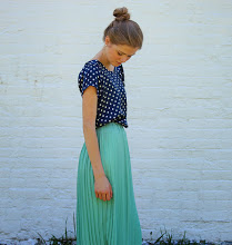 navy blue top w/ polka dots, minty skirt